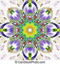 simétrico, -, brillante, rhi, patrón, fractal, colección, ...