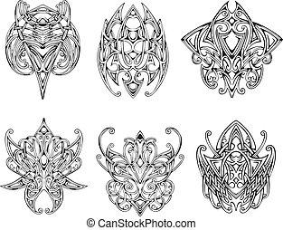 simétrico, diseños, nudo, tatuaje