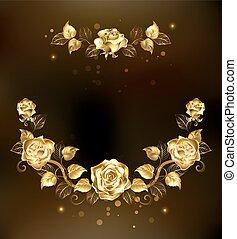 simétrico, guirnalda, oro, rosas