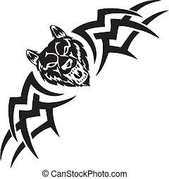 simétrico, illustration., -, tribals, vetorial, lobo