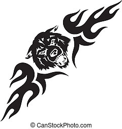 simétrico, Ilustração,  -,  tribals, vetorial, Lobo