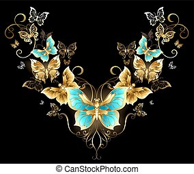 simétrico, mariposas, patrón, dorado