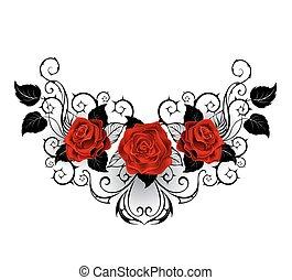 simétrico, tatuaje, rosas rojas