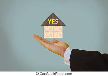 sim, aceitar, ou, ok, em, negócio, negociação, conceito