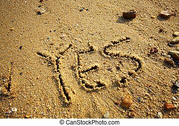 sim, areia, palavras