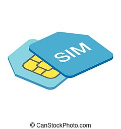 Sim card 3d isometric icon