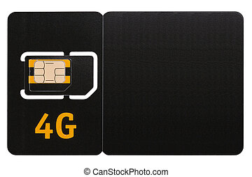SIM card 4G - SIM-card 4G mobile phone. Isolated on white...