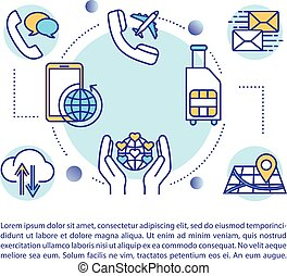 SIM card benefits concept icon with text. International coverage and roaming services. PPT page vector template. Brochure, magazine, booklet design element with linear illustrations