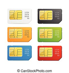 Sim Card Colorful Set. Vector