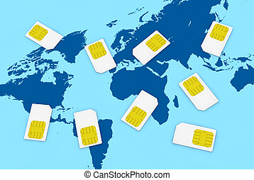 sim card concept - many sim cards with the world map on...