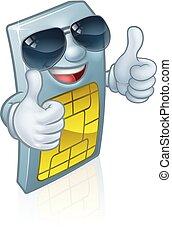 Sim Card Cool Shades Thumbs Up Cartoon Mascot - A mobile...
