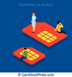SIM card flat isometric concept