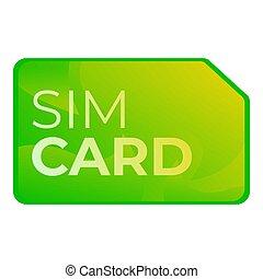 Sim card icon, cartoon style