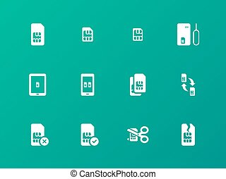 SIM card icons on green background.