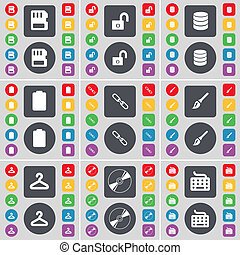 SIM card, Lock, Database, Battery, Link, Brush, Hanger, Disk, Keyboard icon symbol. A large set of flat, colored buttons for your design.