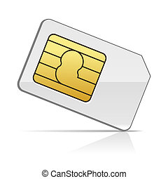Sim Card on White Background. Vector Illustration