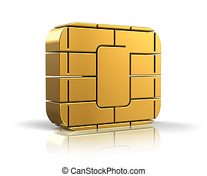 SIM card or credit card concept: golden card microchip ...