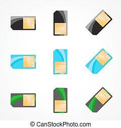 Sim card set. Illustration of designer on white background