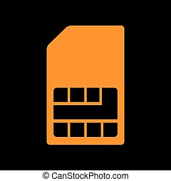 Sim card sign. Orange icon on black background. Old phosphor monitor. CRT.