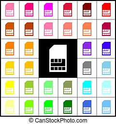 Sim card sign. Vector. Felt-pen 33 colorful icons at white and black backgrounds. Colorfull.
