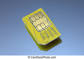 Sim card close view against reflective surface