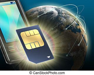 Technologically advanced sim card for mobile communication. Digital illustration.