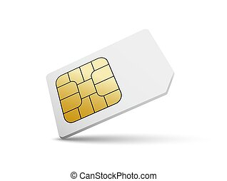 Sim card vector mobile phone icon chip. Simcard isolated 3d...