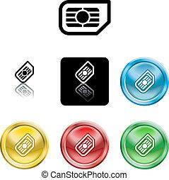 sim, icône, carte, symbole