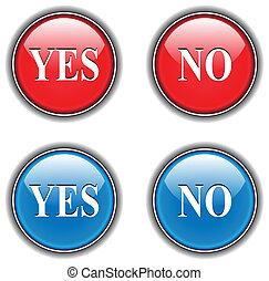 sim, não, ícones, botões