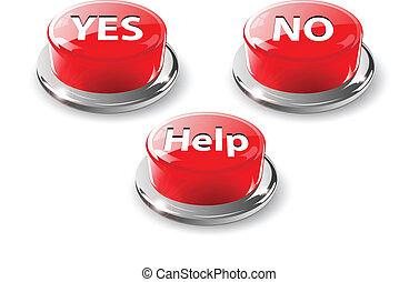 sim, não, ajuda, teia, lustroso, botões