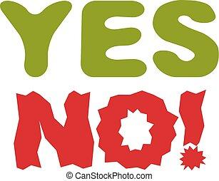 sim, não, checkmark., vetorial, votando, sinal, escolha, metáfora, isolado, ligado, white.