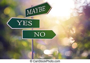 sim, ou, não, sinais estrada