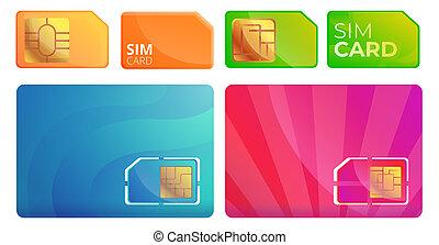 Sim phone card icons set, cartoon style