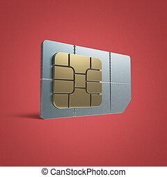 sim, scheda, concept:, dorato, microchip, isolato, su, sfondo colore, render, riflessione, effetto, uggia, rivettare, acciaio