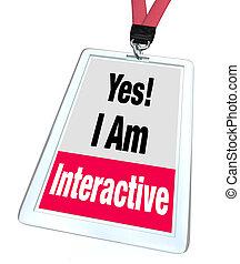 sim, tag, nomeie insígnia, participação, interativo, grupo