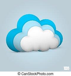 sima, felhő, ikon