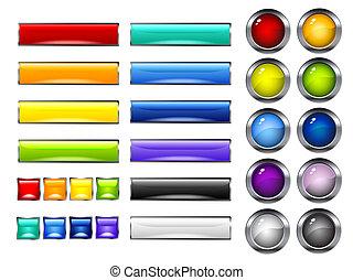 sima, színes, gombok