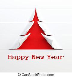 simbólico, árvore, fazendo, 3d, ano novo