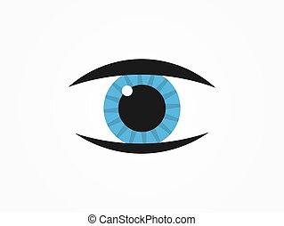 simbólico, azul, icon., olho