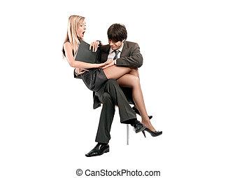 simbólico, foto, de, relacionamentos, em, equipe negócio