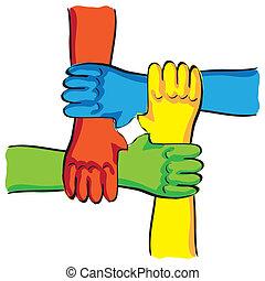 simbólico, -, ilustração, conexão, trabalho equipe, mãos