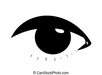 simbólico, olho, femininas