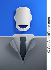 simbólico, sonrisa, hombre de negocios