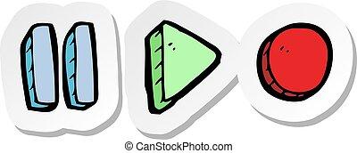 simboli, adesivo, playback, cartone animato