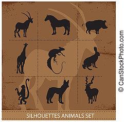simboli, animali, astratto, silhouette
