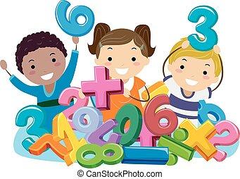 simboli, bambini, stickman, numeri, matematica