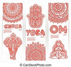simboli, bandiere, set, vettore, yoga, mandalas