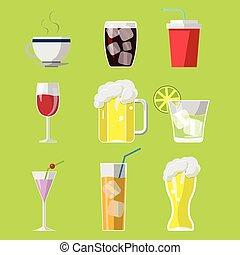 simboli, bevanda, set, bevanda, icone