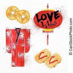 simboli, biscotti, fortuna, asia