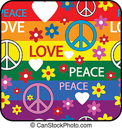 simboli, bottone, hippie